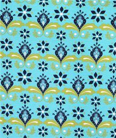 blue monaluna flower organic stretch knit fabric Nile Flower Knit