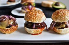 Portobello sliders - yum.  I have a portobello burger recipe I love, but I have to try this!