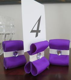 Table Number Holders - Wedding Decor - Set of Fifteen (15) with Purple and Ivory Satin Ribbon with Acrylic Gem - Customize Your Colors