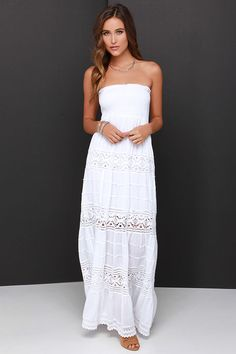 Vacation Migration Ivory Strapless Crochet Maxi Dress at Lulus.com! White Strapless  Dress f2f080506