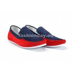 Pánske červeno modré mokasíny COMODO E SANO - fashionday.eu