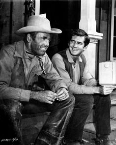Henry Fonda and Anthony Perkins on the set of The Tin Star, 1957