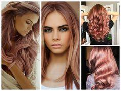 Колорирование волос: фото цвет розовое золото