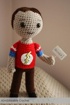 Crochet Sheldon! Bazinga! Ha! Ha!  Was not sure what board to put him on so sharing it is. :)