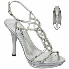 "Lava Taboo Rhinestone Silver 4"" Strappy Ankle Strap Prom Heels Sandals Shoes"