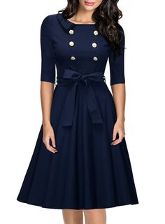 Miusol Women's 3/4 Sleeve Classy Casual Belted Vintage Retro Evening Swing Dress Navy Blue Medium Price: $22.00 - $34.99