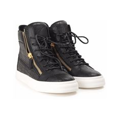GIUSEPPE ZANOTTI London leather sneakers ($570) ❤ liked on Polyvore featuring shoes, sneakers, black, rubber sole shoes, leather shoes, giuseppe zanotti, real leather shoes and genuine leather shoes