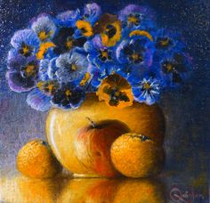 Still life vase of pansies and fruit, an oil painting by Irish still life artist Chris Quinlan. A still life vase oil painting on linen panel of a colourful vase of lilies and some fruit, completed Mar 28 Still Life Artists, Still Life Oil Painting, Irish Art, Lilies, Pansies, Impressionist, Be Still, Art Pieces, Vase