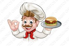 Cartoon Character Chef Holding Burger. Restaurant