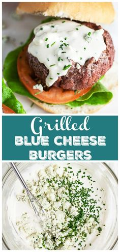 These Grilled Blue Cheese Burgers are juicy and topped with a homemade creamy sauce! They're made with ground beef that's formed into patties and grilled to perfection. They can be made on a charcoal or gas grill. These burgers are seasoned with garlic and onion powder. The topping is made with mayo, sour cream, and blue cheese crumbles. This gluten free burger recipe is great for summer grilling or all year long! Cheese Recipes, Sauce Recipes, Gluten Free Burger Recipe, Sandwiches For Lunch, Sandwich Recipes, Healthy Pasta Sauces, Blue Cheese Burgers, Blue Cheese Sauce, Burger Toppings