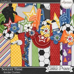 Soccer Time - Border Clusters by Connie Prince. Includes 4 vertical border cluster elements, saved in PNG format. Shadows ARE included. Scrap for hire / others ok.