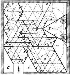 Plan for a mirror maze - 1888. Strill the same techniques are used to design mirror mazes.