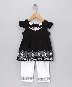 Take a look at this Black Floral Angel-Sleeve Top & Pants - Toddler by Nannette on #zulily today!