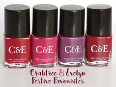 crabtree & evelyn c and e festive favourites holiday collection beautyberry cranberry wine orchid swatches