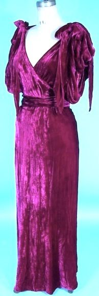 c. 1930's EISENBERG & SONS Original Reddish Plum Colored Crushed Velvet Gown