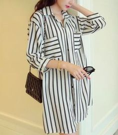 3/4 Sleeve Striped Long Blouse