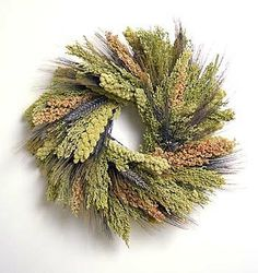 Tapestry Bird Wreath: black bearded wheat, spray millet,canary grass and red sorghum