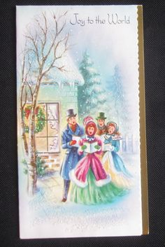 Vintage Christmas Greeting Card Caroling Joy to the World Glitter Mid Century