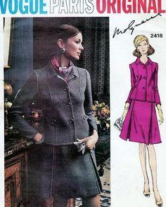 1970s Classy Molyneux Suit Pattern Semi Fitted Jacket, A Line Inverted Side Front Pleats Skirt Vogue Paris Original 2418 Vintage Sewing Pattern UNCUT Bust 34