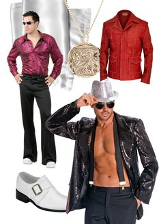 Let's be honest, men's disco fashion is not for the faint hearted. Tight shirts, tight pants, platform shoes, and man jewelry. If you want to take it down a notch, opt for a retro cut suit (or leather jacket) with wide lapels over a bold patterned dress shirt. Either way you'll be a magnet for the disco ladies. http://sparklerparties.com/studio-54/