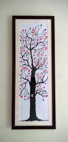 Hand Printed Tree  Size 28 x 11 inches