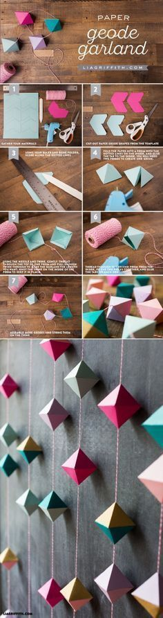 Diy Paper Geode Garland - What's an article about paper crafts without a cool paper garland in the list? Actually, the prettiest garlands you can find are made out of paper and that is why you should try making this paper geode garland. It's a perfect embellishment for every wall, just choose the colors you like and you will see it for yourself. #diycrafts