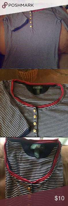 Ralph Lauren's striped shirt blue size S Use in great shape Ralph Lauren shirt striped blue and white with golden buttons and red neckline, size S Lauren Ralph Lauren Tops Blouses