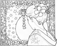 Adult coloring page Japan: geisha girl