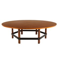 Exceptional Large Round Table by Jules Wabbes | From a unique collection of antique and modern dining room tables at https://www.1stdibs.com/furniture/tables/dining-room-tables/