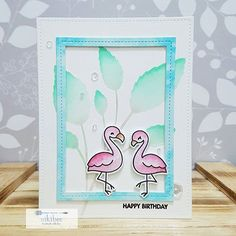 Lawn Fawn Flamingo Together; stencil; pink aqua; birthday; texture paste