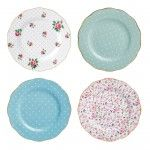 Royal Albert - 'New Country Roses' Collection - Assorted Accent Plates, s/4