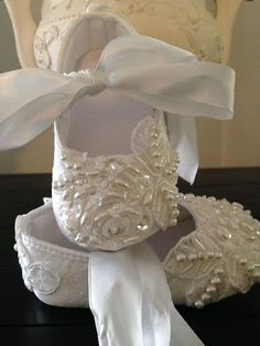 Ivory Christening Baptism Baby Lace Hand Beaded by LaBoutiqueBride