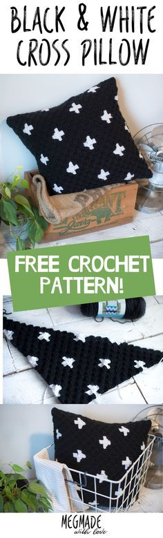 Crochet Black and White Cross Pillow Cover Pattern — Megmade with Love