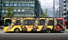 This ambient bus advertisement was made for the Zoo in Copenhagen (Denmark) by advertising agency Young & Rubicam. It looks like a giant constrictor snake is completely squeezing the city bus. Creative Advertising, Bus Advertising, Advertising Campaign, Ads Creative, Creative Ideas, Advertising Design, Funny Commercials, Funny Ads, Funny Humor