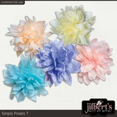 5 delicate posies made with tissue paper by #JilbertsBitsOfBytes.  Soft color and dainty details.  Perfect for kits or on your page.  #digitalscrapbooking #theStudio