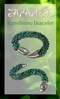 Japanese kumihimo bracelet forest dark green reptile snake braided bracelet magatama seed beaded bracelet serpentine jewelry scales - pinned by pin4etsy.com