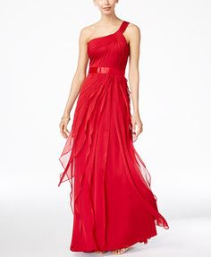 Adrianna Papell One-Shoulder Tiered Chiffon Gown | macys.com