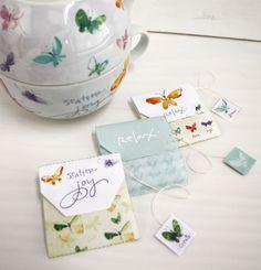 Imprimibles gratuitos para customizar bolsitas de té >> Free Joy | Printables | Butterfly's Promise Tea Bags