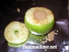 Tin Foil Baked Apple- cut apple as shown in pic fill hole with just brown sugar, the best, or can add other spices like nutmeg too. Replace top of the apple to make the apple whole again, wrap it with tinfoil (shiny side up). You may want to double wrap it. Bake in warm coals for 7 – 10 minutes.