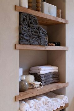 Shelves in the wall between the studs