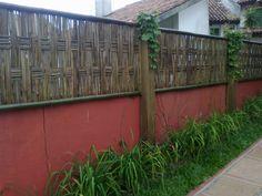 muro com bambu -