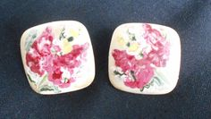 Fashion Hand Painted Pierced Earrings Floral Lucite No Metal Squares Stud Back #Unbranded #Stud