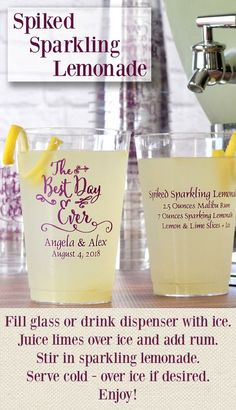 The perfect thirst quencher for a hot summer wedding reception, this easy-to-make Spiked Sparkling Lemonade signature drink is made with Malibu rum, sparkling lemonade, and lemon and/or lime slices. Serve your drinks in 14 oz. clear plastic cups personalized with a design, bride and groom's name, and wedding date on one side and drink ingredients on the other side for fun wedding souvenirs. The cups can be ordered at http://myweddingreceptionideas.com/14_oz_personalized_plastic_tumblers.asp