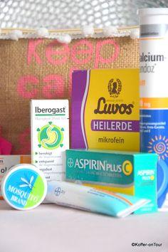 Reiseapotheke, Aspirin, Iberogast, Calzium Sandoz, Bepathen