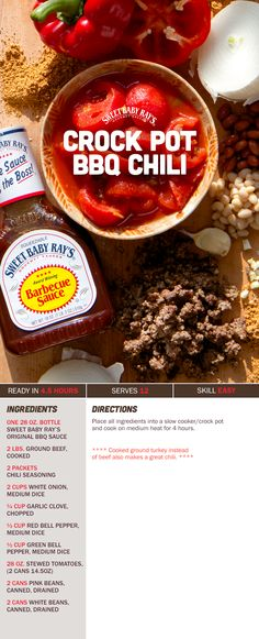 This easy Sweet Baby Ray's Crockpot BBQ Chili recipe serves 12 and can last for three days