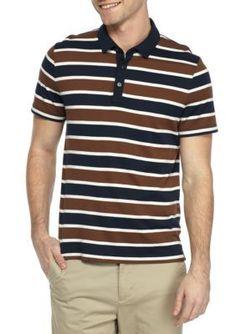 Michael Kors Copper Short Sleeve Towel Stripe Polo Shirt