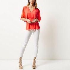 Coral cape back V-neck t-shirt - t-shirts - tops - women
