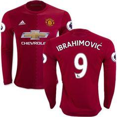Manchester United 16-17 Zlatan #Ibrahimovic 9 Hjemmebanetrøje Lange ærmer,245,14KR,shirtshopservice@gmail.com