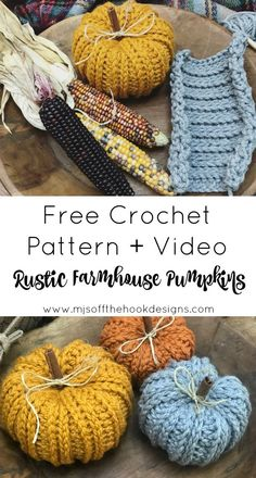 knitting and crochet Projects colour - Bulky & Quick Rustic Farmhouse Pumpkin Pattern Crochet Home, Free Crochet, Crochet Fall Decor, Autumn Crochet, Crochet Motif, Fall Crochet Hats, Crochet Craft Fair, Easy Crochet Hat, Crochet Vests