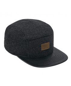 Reell 5 panel English black tweed cap strapback